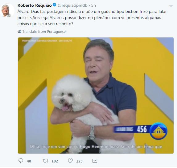 EM FIM DE CARREIRA BOQUIRROTO GOSTA DE ESTRELISMO : Requião usa Twitter para alfinetar colega no Senado