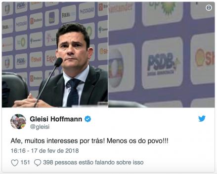 Gleisi divulga fotomontagem de Moro como se fosse real, para atingir reputação do juiz